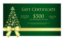 与圣诞节tr的绿色圣诞节礼券 库存照片