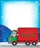 与圣诞节van theme 1的框架 免版税库存照片