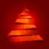 与圣洁光的现代圣诞树背景 免版税图库摄影