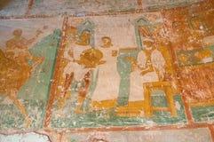 与圣经场面的壁画绘画在通告的教会内部在Arkazhi在Veliky诺夫哥罗德,俄罗斯 免版税库存照片