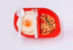 与圣洁蓬蒿的米和地面鸡 免版税库存照片