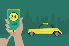 给与在一个屏幕上的接口出租汽车在背景城市打电话 库存照片