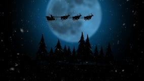 与在圣诞老人雪橇的落的雪数字综合在云彩在晚上 剪影 皇族释放例证