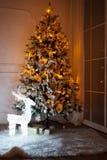 与在底下存在的一棵被点燃的圣诞树 库存图片