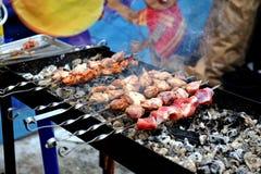 与在户外火盆的新鲜的鲜美烤肉 免版税库存图片