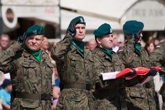 与在手中波兰旗子的战士致敬(天波兰军队) 库存图片