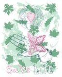 与在手边坐的蝴蝶和地球的Eco海报 免版税库存图片