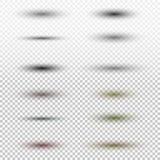 与在方格的背景隔绝的软的边缘的透明卵形阴影 提取空白背景蓝色按钮颜色光滑的例证查出的对象被设置的盾发光的向量 免版税库存照片