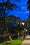 与在晚上被照亮的胡同的风景 免版税图库摄影