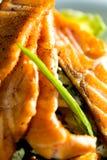 与在晚餐服务的菜的被烘烤的三文鱼 库存图片