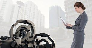 与在标志的残破的具体都市风景的石头和女实业家 免版税库存图片
