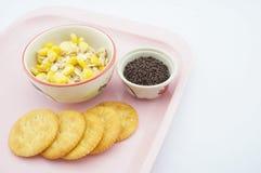 与在桃红色盘子的巧克力混合玉米、燕麦和变甜的浓缩牛奶 免版税库存图片