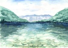 与在水和山的美好的风景反映的湖 水彩手拉的例证 向量例证