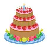 与在白色背景传染媒介例证和糖果的生日蛋糕隔绝的蜡烛 库存图片