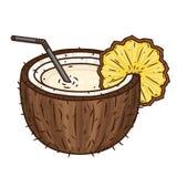 与在白色背景和切片的鸡尾酒Pina colada菠萝隔绝的秸杆 布朗椰子 库存图片