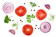 与在白色背景和干胡椒的蕃茄切片隔绝的荷兰芹叶子、莳萝、葱、大蒜 顶视图 免版税库存照片