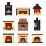 与在白色背景和木柴的传染媒介集合不同的五颜六色的家庭壁炉隔绝的火 设计元素为 皇族释放例证