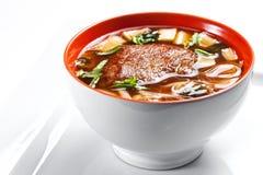 与在白色背景和面条的传统日本大酱汤隔绝的鸭子 免版税库存照片