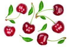 与在白色背景隔绝的叶子的甜红色樱桃 顶视图 平的位置样式 免版税库存照片
