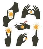 与在白色背景隔绝的太阳的手势 r 爱和幸福姿态  库存例证