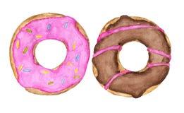 与在白色背景隔绝的桃红色和巧克力顶部的两个给上釉的油炸圈饼 皇族释放例证
