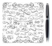 与在白色背景隔绝的现实笔的传染媒介书法装饰元素集 向量例证