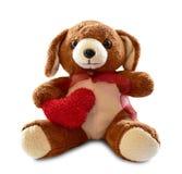 与在白色背景隔绝的红色心脏的玩具熊 库存照片