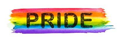 与在白色背景隔绝的自豪感文本的彩虹水彩,同性恋自豪日LGBT,反对同性恋歧视标志 皇族释放例证