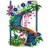 与在白色背景隔绝的花的一部美丽的螺旋形楼梯 传染媒介动画片特写镜头例证 皇族释放例证