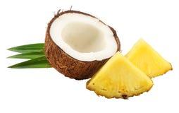 与在白色背景隔绝的菠萝和绿色叶子的椰子 免版税图库摄影