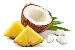 与在白色背景隔绝的菠萝和绿色叶子的椰子 库存图片