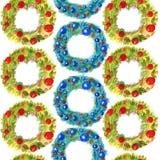 与在白色背景隔绝的装饰的水彩无缝的样式手拉的圣诞节花圈 向量例证