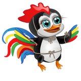 与在白色背景隔绝的雄鸡的明亮的羽毛的逗人喜爱的小的企鹅 也corel凹道例证向量 库存图片
