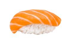 与在白色背景隔绝的三文鱼的Nigiri寿司 免版税库存图片