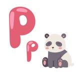 与在白色背景隔绝的动画片动物熊猫的逗人喜爱的动物园字母表和滑稽的信件P野生生物学会印刷术 图库摄影