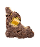 与在白色背景隔绝的叮咬的果仁巧克力 免版税库存照片