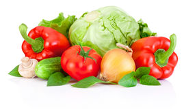与在白色背景隔绝的叶子的新鲜蔬菜 免版税库存图片