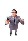 与在白色背景隔绝的手枪的商人 库存照片