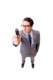 与在白色背景隔绝的手枪的商人 免版税库存照片