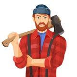 与在白色背景隔绝的木轴的Axeman 砍木柴者 库存例证