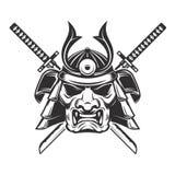 与在白色背景隔绝的横渡的剑的武士面具 免版税图库摄影