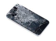 与残破的屏幕的苹果计算机iPhone 免版税库存图片