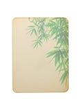 与在白色背景隔绝的竹子叶子的老纸牌 库存照片