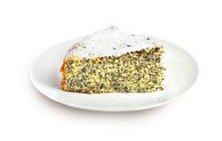 与在白色背景隔绝的罂粟种子的柠檬蛋糕 库存图片