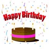 与在白色背景隔绝的蜡烛的生日蛋糕 免版税库存图片