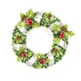 与在白色背景隔绝的装饰的绿色圣诞节花圈 免版税库存图片