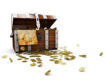 与在白色背景隔绝的金黄硬币3D例证的葡萄酒木胸口 皇族释放例证