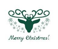 与在白色背景隔绝的鹿的圣诞快乐标志 免版税库存图片