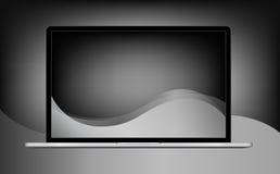 与在白色背景隔绝的黑屏的膝上型计算机例证,铝身体 免版税库存图片