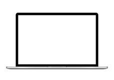 与在白色背景隔绝的黑屏的膝上型计算机例证,铝身体 EPS10 库存图片